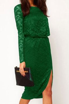 Lace Splicing Solid Color Slit Sexy Style Long Sleeves Women's Sexy Dress, GREEN, ONE SIZE in Sexy Dresses   DressLily.com