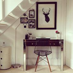 Desk nook under stairs