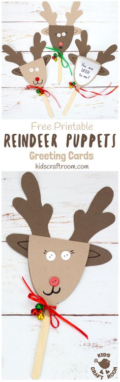 REINDEER PUPPET GREETING CARDS - These Rudolf Puppets are so fun to make and because they double up to be surprise greeting cards they are perfect for sharing some festive cheer to friends and family too. They are Christmas on a stick literally! #Christmas #Christmascrafts  #kidscrafts