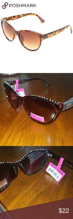 Betsey Johnson Studded Cateye Sunglasses Brand new with tags and plastic.  Betsey Johnson Sunglasses.  Rhinestone rim ! Betsey Johnson Accessories