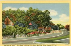 New River Canyon West Virginia Entrance to Hawk's Nest State Park RT60 Postcard | eBay