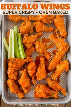 The BEST Buffalo Wings you'll and they're oven baked! Tossed with a delicious bu… The BEST Buffalo Wings you'll and they're oven baked! Tossed with a delicious buffalo wing sauce these will be the hit of your parties! Baked Buffalo Wings, Baked Chicken Wings Buffalo, Buffalo Hot Wings Recipe, Crispy Baked Chicken Wings, Buffalo Wild Wings Medium Sauce Recipe, Franks Red Hot Wings Recipe, Oven Wings Crispy, Chicken Tenders, Appetizer Recipes