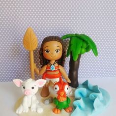 Resultado de imagem para moana em biscuit Moana Birthday Party, Birthday Parties, Polymer Clay Cake, Cake Decorating With Fondant, Biscuit, Party Cakes, Cake Toppers, Hello Kitty, Pasta Flexible