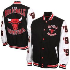 Chicago Bulls 6X NBA Finals Champs High Point Commemorative Full Button Jacket - Black/White