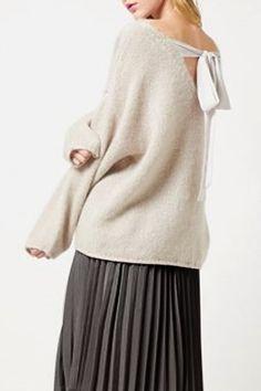 Stylish Jewel Neck Long Sleeve Loose-Fitting Lace-Up Women's Sweater