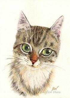 cat art print, A Thinking Cat, cat portrait, cat lover gift, kid's room decor, wall art, A3 print A4, 6x8, 8x10