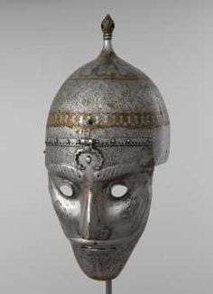 Persian helmet with mask, 16th century, Moscow Kremlin Museums.