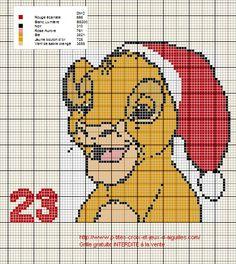 Voici la grille pour le 23eme jour du calendrier de l'Avent Disney avec Simba du Roi Lion.