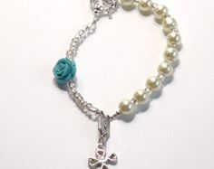 Handcrafted Beaded Catholic Saints Rosary Chaplet Bracelet - Ivory Pearl with Blue Rose by dunglebees. Explore more products on http://dunglebees.etsy.com
