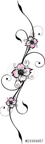 Vector: Kirschblüte, Ranke, Blumen, cherry blossom, filigran