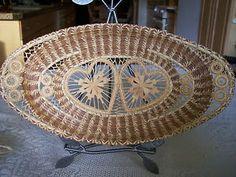 Stunning Large Raffia Coiled Pine Needle Basket w Teneriffe Irvine M McIntyre | eBay