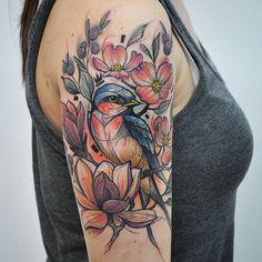 Bird and flower - 110 Lovely Bird Tattoo Designs 3 3 64880050868813485 Side Tattoos, Body Art Tattoos, Sleeve Tattoos, Cool Tattoos, Awesome Tattoos, Tatoos, Passaro Curio, Bird And Flower Tattoo, Tattoo Bird