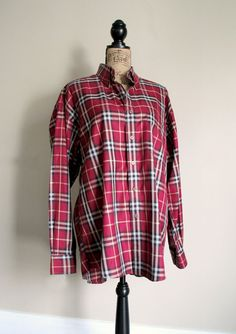 Vintage Burberry Shirt - Kate's is very similar to this one (White Cross through Red Check) #katemiddleton #burberry