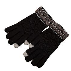 Unisex Winter Wool Soft Gloves Touch Screen Thick Warm Knitted gloves Black >>> Want to know more, click on the image.