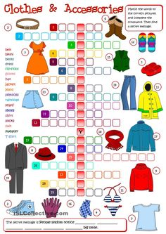 A crossword to practise clothes vocabulary. A crossword to practise clothes vocabulary. Greyscale and KEY included. Have a nice weekend mada 🙂 – ESL worksheets English Games, English Resources, Kids English, English Activities, English Lessons, Learn English, English Vocabulary, English Grammar, Teaching English