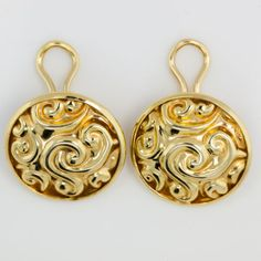 Antique-C-1940-Art-Deco-14k-Yellow-Gold-Carved-Repousse-Estate-Italian-Earrings