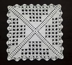 Discover thousands of images about Vintage crochet cream white square doily Granny Square Crochet Pattern, Crochet Diagram, Crochet Squares, Filet Crochet, Crochet Blanket Patterns, Crochet Motif, Crochet Doilies, Crochet Stitches, Crochet Blocks