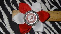 Sporty Bottlecap Flower NCAA Alabama Crimson Tide Hair Bow ~ Free Shipping  ~ Bows By Kittak $4