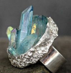 Ring by Specimental - Aqua aura quartz and opal aura quartz in sterling silver. on Etsy