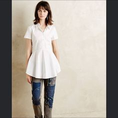 White frosted poplin shirt Worn one time. From the brand HD in Paris from Anthropologie. Sold out everywhere! Absolutely no trades, please do not ask! Anthropologie Tops Button Down Shirts