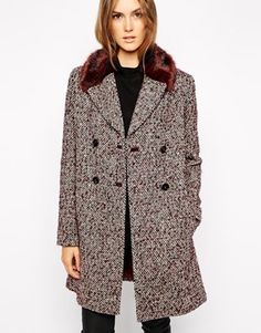 French Connection Moscow Tweed Coat with Faux Fur Collar