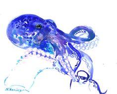 Octopus, Original watercolor painting, 10 x 8 in, blue  sea animal art, nautical, aquatic sea world