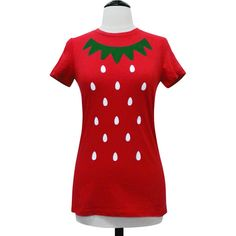 Strawberry Shirt Cute Kawaii Costume Berry T-Shirt (Available in... ($18) ❤ liked on Polyvore featuring costumes, womens costumes, red costumes, ladies costumes, lady halloween costumes and womens halloween costumes