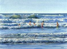 SURF'S UP!, seascape watercolor by Thomas A Needham