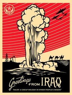 View Greetings from Iraq by Shepard Fairey on artnet. Browse more artworks Shepard Fairey from Gregg Shienbaum Fine Art. U2 Poster, Kunst Poster, Art Obey, Shepard Fairey Art, Shepard Fairy, Illustration Photo, Propaganda Art, Vintage Poster, Political Art