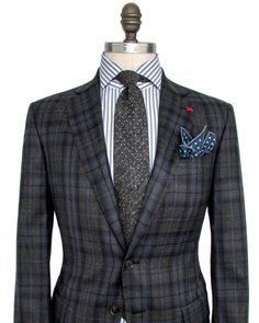 Isaia Grey with Blue and Navy Plaid Sportcoat 	2 button jacket 	Notch…
