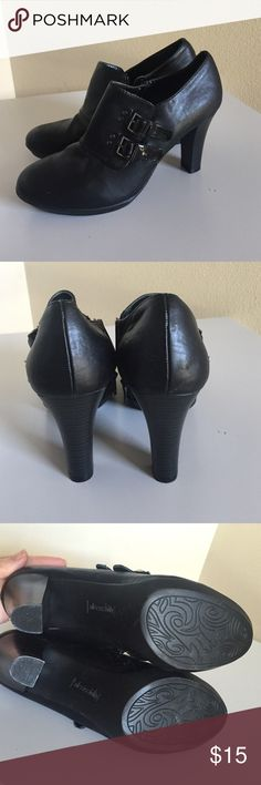 SOLESENSEABILITY black booties 10 Cute faux buckle - easy on and off with side zipper - worn once - like new - size 10 solesenseability Shoes Ankle Boots & Booties