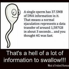 K. I didn't really need that last bit about swallowing, but whatever.
