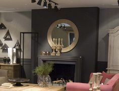 flamant interiors   Flamant Room Interior 064 - Ardenne fireplace mantel, wooden urn ...