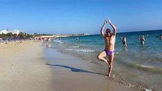 Aya Napa, Cyprus on the beach for some yoga stretching with superfit Rich Langley :0)