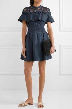 Self-Portrait - Hudson Guipure Lace-paneled Cotton-poplin Mini Dress - Midnight blue - UK12