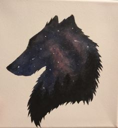 Acrylbild drawing painting galaxy wolf silhouette forest