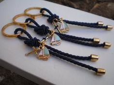 Luxury navy martyrika-Key chains Baptism Favors Gold and blue