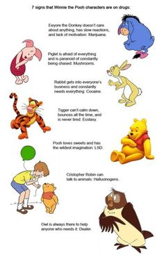 Winnie the Pooh on Drugs. Pooh and friends are on drugs. 7 signs that Winnie the Pooh characters are on drugs: Eeyore the Donkey doesn' t care about anything, h Funny Quotes, Funny Memes, Hilarious, Cartoon Quotes, Pooh Bear, Adult Humor, I Laughed, Drugs, Laughter