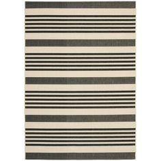 Safavieh Black/ Bone Indoor Outdoor Rug   Overstock.com Shopping - Great Deals on Safavieh 7x9 - 10x14 Rugs