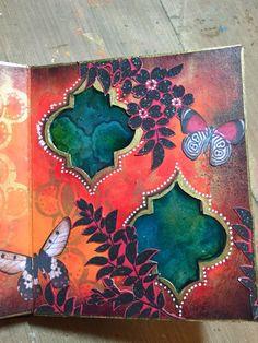 StencilGuts Handmade Art Journal - Page 7 close-up - Gwen Lafleur