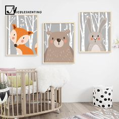 Buy Cartoon Rabbit Fox Bear Animal Nursery Posters and Prints Wall Art Canvas Painting Nordic Decorative Wall Pictures For Baby Kids Room Decoration at Wish - Shopping Made Fun Nursery Canvas, Bear Nursery, Animal Nursery, Nursery Wall Art, Wall Art Decor, Canvas Wall Art, Living Room Pictures, Wall Art Pictures, Reproductions Murales