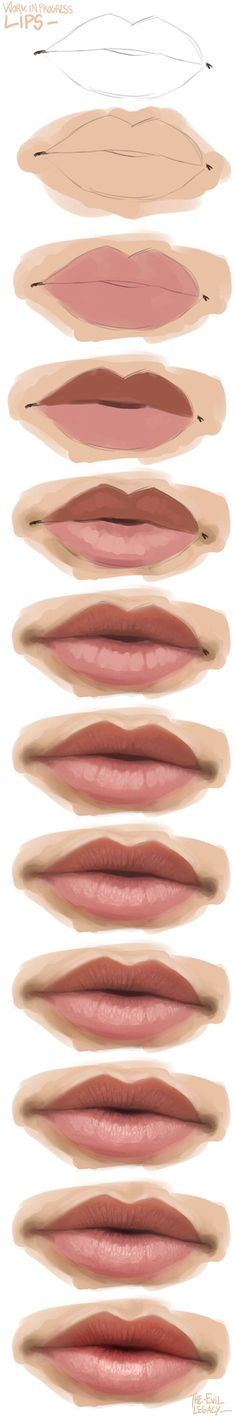 Delineate Your Lips How to Art - How to draw lips correctly? The first thing to keep in mind is the shape of your lips: if they are thin or thick and if you have the M (or heart) pronounced or barely suggested. Digital Painting Tutorials, Digital Art Tutorial, Art Tutorials, Ipad Art, Digital Portrait, Art Reference Poses, Art Drawings Sketches, Drawing Techniques, Art Tips