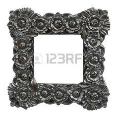 cadre baroque avec des roses d'argent photo