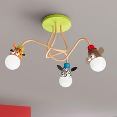Genius and cute! |  Safari Animals Ceiling Light- Take the jungle animals, zoo friends, or safari theme in your kids room or nursery to new heights with this wild monkey, giraffe, and zebra ceiling light. Energy-efficient light bulbs included. Non-toxic, cadmium and lead free. Metal, wood, and white glass.