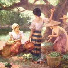 Philippine National Artist Fernando Amorsolo - oil painting - Under the Mango Tree Filipino Art, Filipino Culture, Philippine Art, Philippines Culture, Mango Tree, Artists Like, Pictures To Paint, Asian Art, Art Gallery