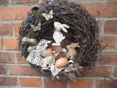 Vyhlížíme Velikonoce Bříza, dřevění zajdové, pírka, vejce, dekorace ,,,,vzadu očko - velikost 33cm