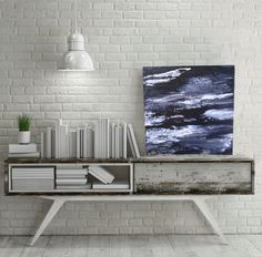 Black, White, and Silver Acrylic Painting, Abstract style.  #abstractpaintings Alison Strickland Art.