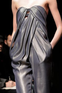 Chic lustrous jumpsuit with edgy but soft pleated drape  crossover feature - closeup fashion details // Yiqing Yin