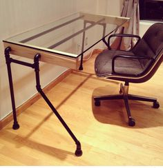 Glass & Pipe Bent-leg Desk