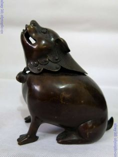 China bronze carved finely lucky mouse censer incense burner